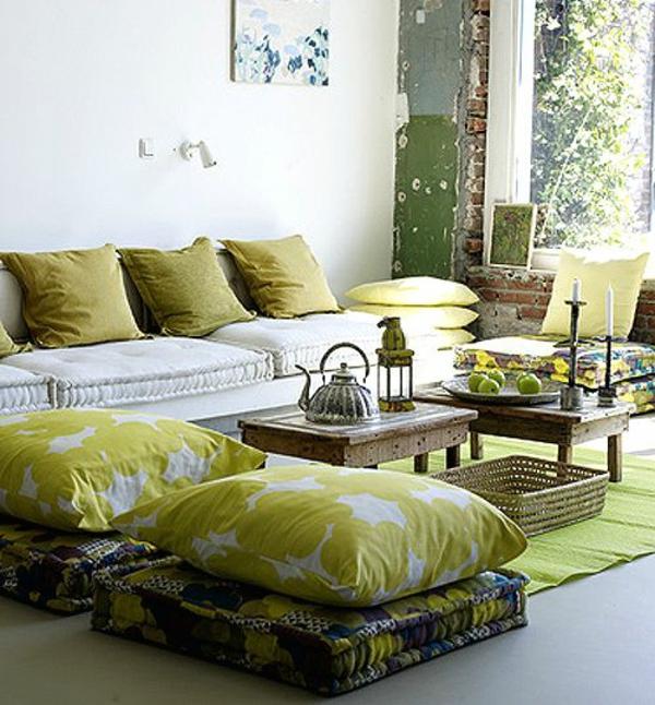 wohnzimmer neu gestalten ideen grün farben