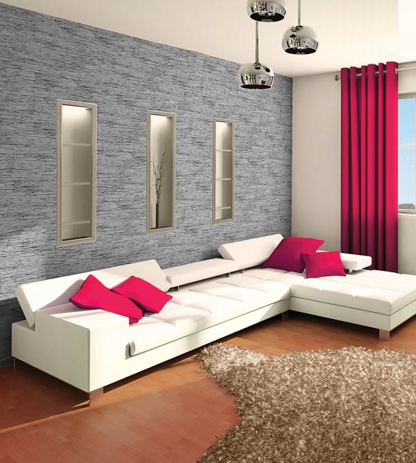 wohnzimmer weißes sofa krasse dekokissen