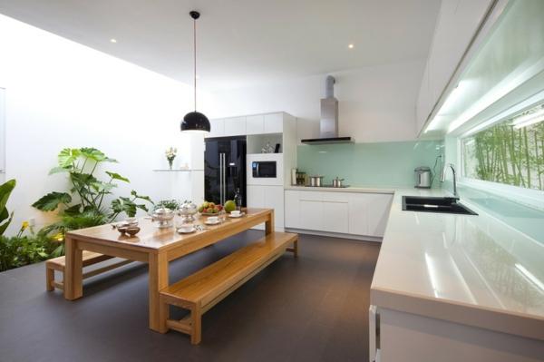 zimmerpflanzen bestimmen küche kleiner garten esstisch sitzbänke