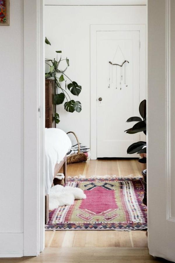 zimmerpflanzen farbiger teppich schöne dekoideen