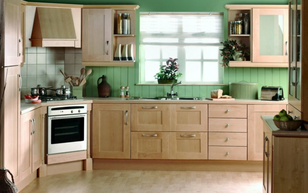 zimmerpflanzen küche grüne wandgestaltung schöne wohnideen