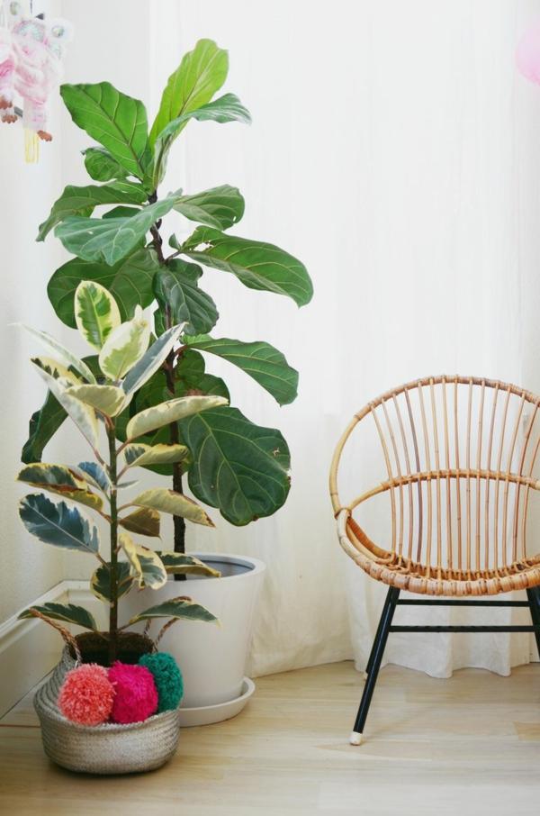 zimmerpflanzen sessel erholungsecke schöne wohnideen