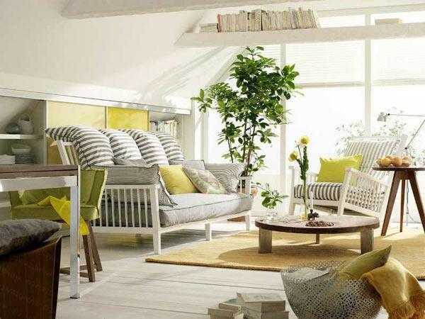 zimmerpflanzen wohnzimmer dekorieren hellgelber teppich