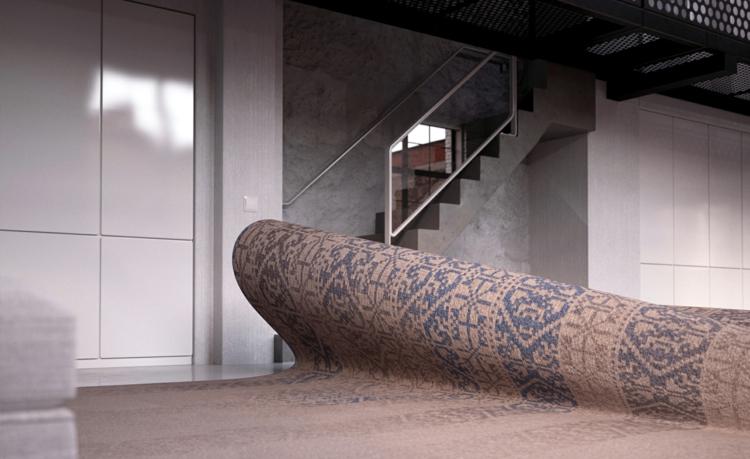 Italienische Designermöbel Alessandro Isola Stumble Upon Sofa Teppich