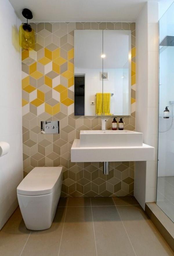 badezimmergestaltung ideen badfliesen wandfliesen warme farben gelb