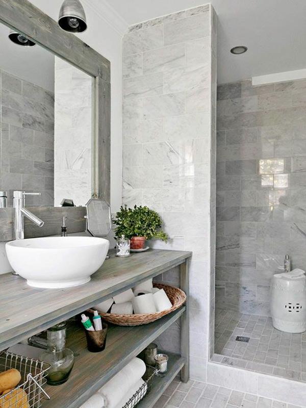 badezimmergestaltung ideen holzmöbel waschbeckentisch badfliesen grau
