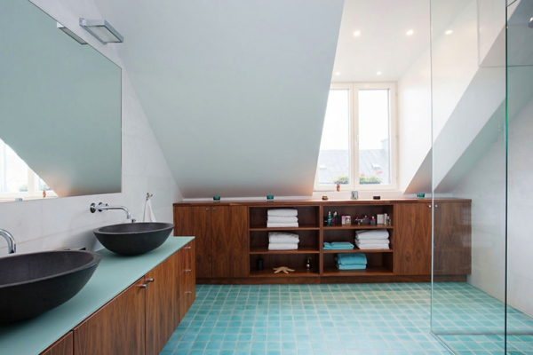 Badezimmergestaltung ideen modern holz badezimmer möbel hellblau