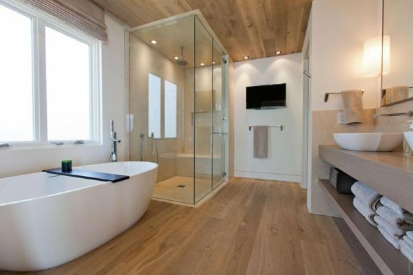 badezimmergestaltung ideen modern holzboden freistehende badewanne