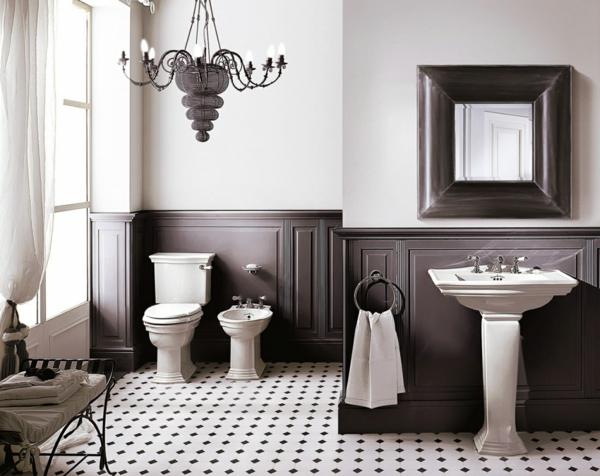 badezimmergestaltung ideen retro akzente schwarz weiß