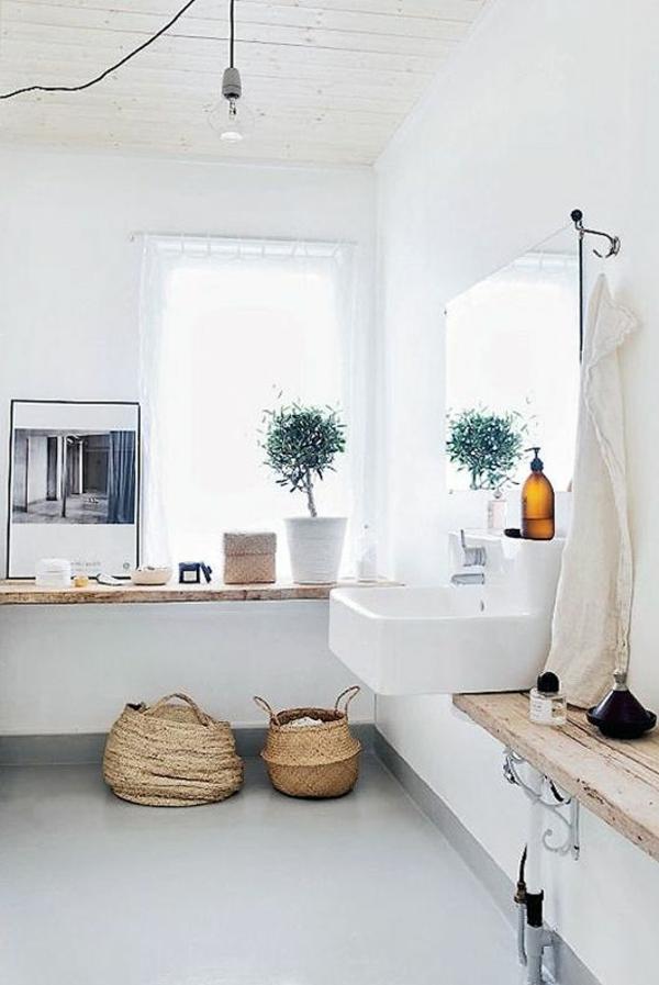 badezimmergestaltung ideen rustikal flechtmöbel waschbeckentisch