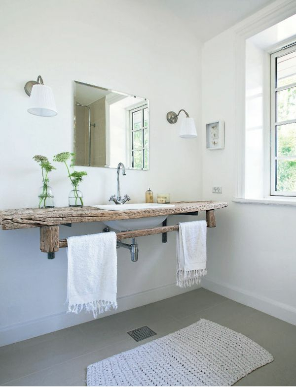 badezimmergestaltung ideen rustikal nachhaltiges design holz waschbeckentisch