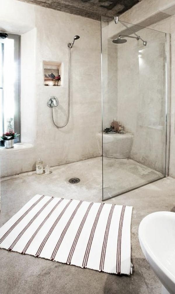 badezimmergestaltung ideen rustikal walk in dusche läufer