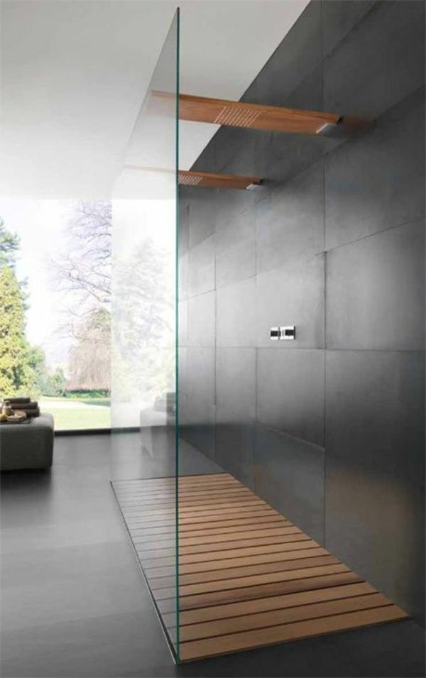 badezimmergestaltung ideen walk in dusche duschwände glas bodengleich