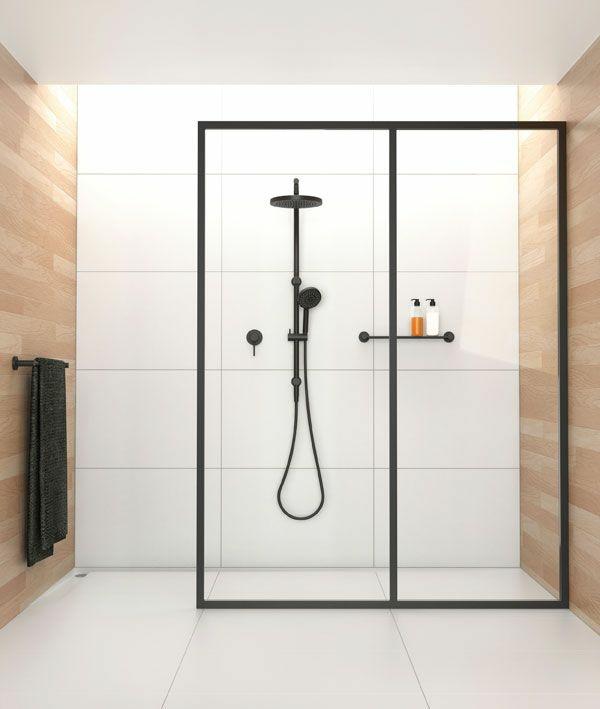 badezimmergestaltung ideen walk in dusche schwarz