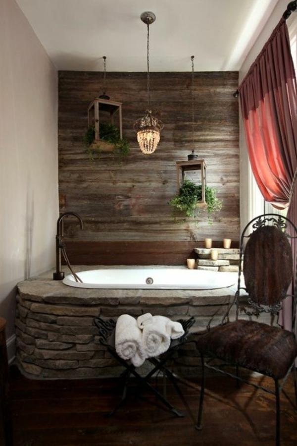 badezimmergestaltung ideen wandverkleidung holz badewanne steine