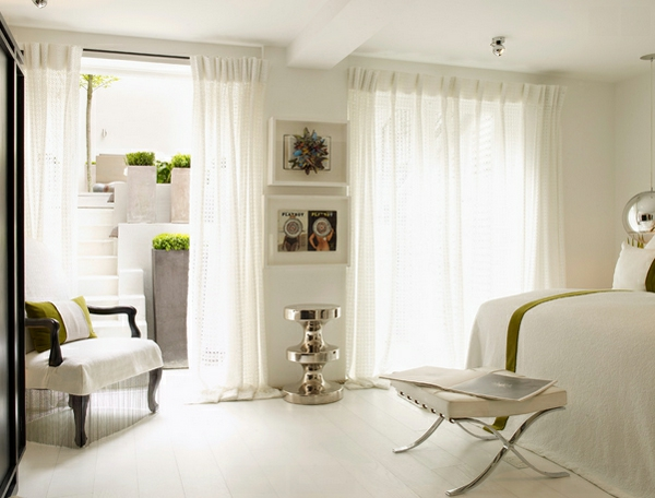 blickdichte vorhänge gardinen schlafzimmer barcelona hocker