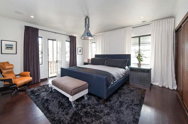 blickdichte vorhänge hochflorteppich schlafzimmer