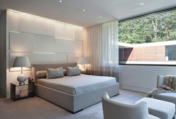 blickdichte vorhänge schlafzimmer panoramafenster