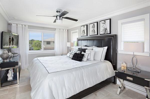 blickdichte vorhänge schlafzimmer weiß deckenventilator
