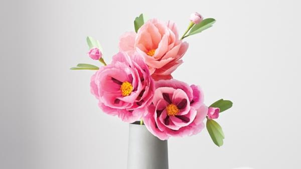 blumendeko papier pfingstrsosen rosa