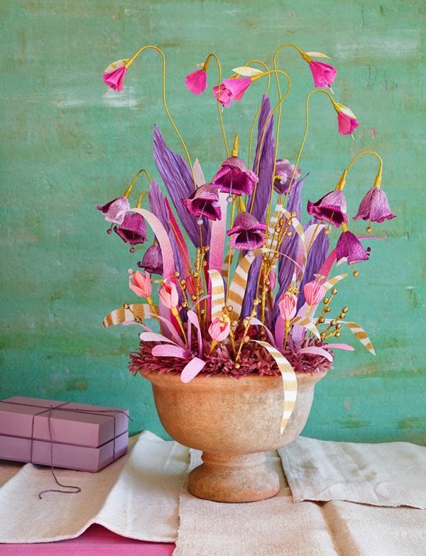 blumendeko papier topfblumen keramik veilchen