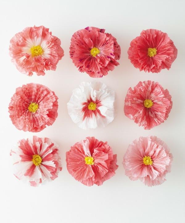 blumendeko papierblumen rosa