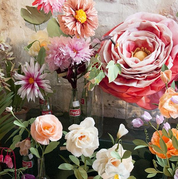 blumendeko papierblumen rosen blumig
