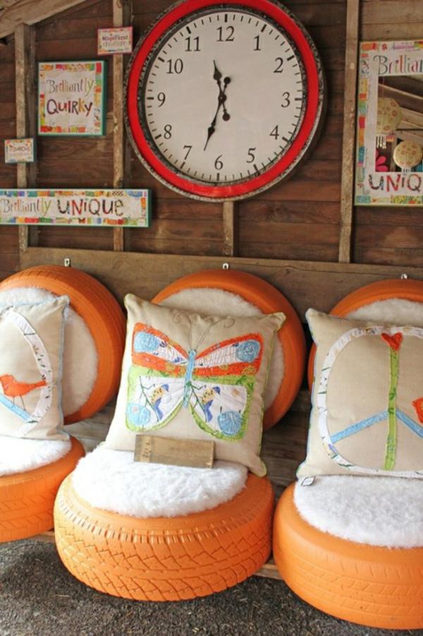 coole sitzplätze alte autoräder orange