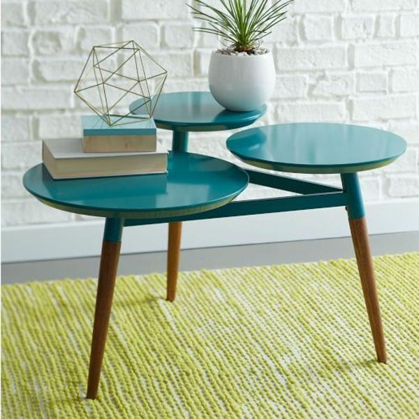 couchtisch vintage stil rund grüner teppich