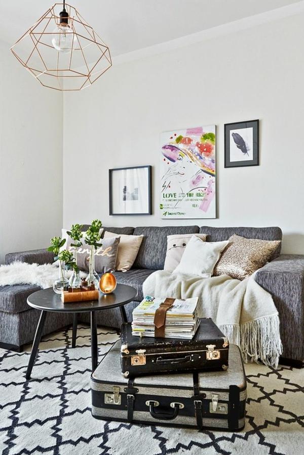 couchtisch vintage stil wohnzimmer ecksofa