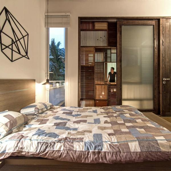 deckengestaltung wandgestaltung hölzerne jalousien schlafzimmer
