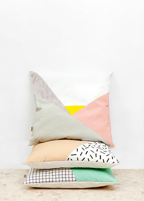 dekokissen schöne dekoideen patchwork stoffe innendesign