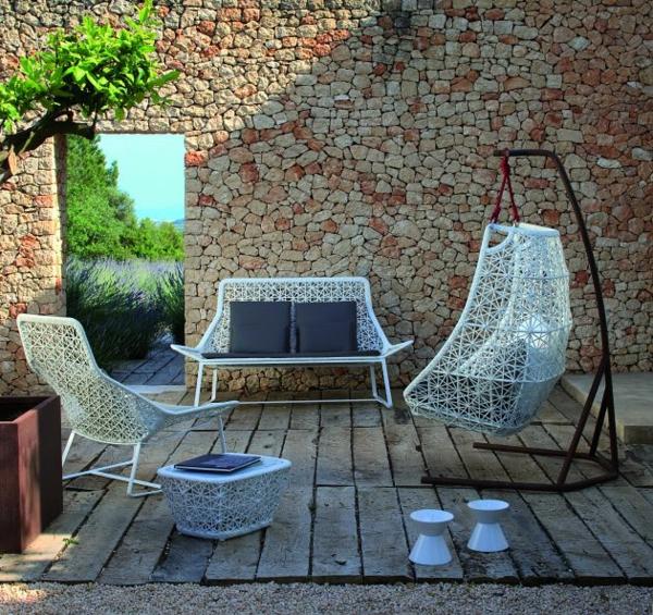 designer gartenmöbel außenmöbel kunststofffaser weiß