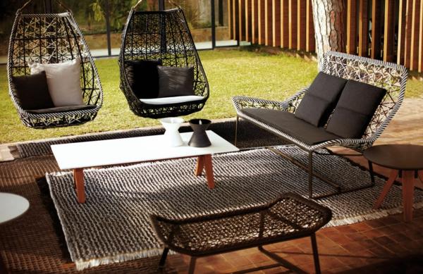 designer gartenmöbel geflochten hängesessel couch sitzbank