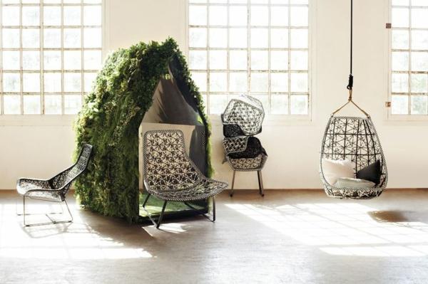 designer gartenmöbel schwarz weiß geflochten