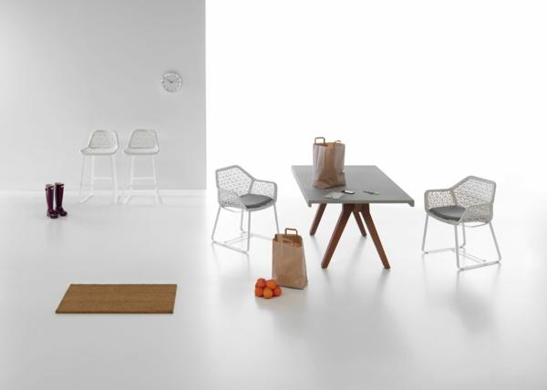 designer gartenmöbel weiß geflochten küche