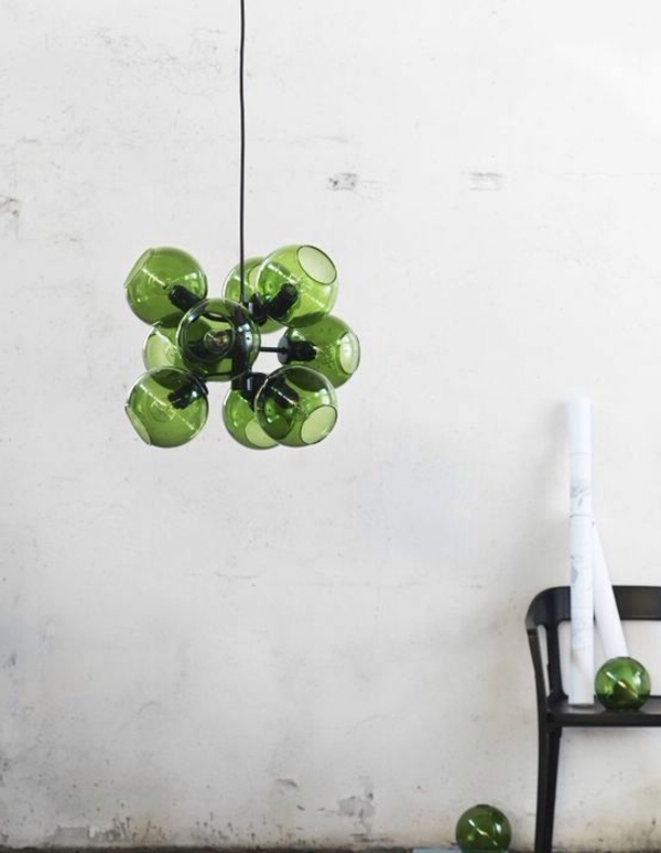 designer lampen hängelampe grüne gläserne lampenschirme