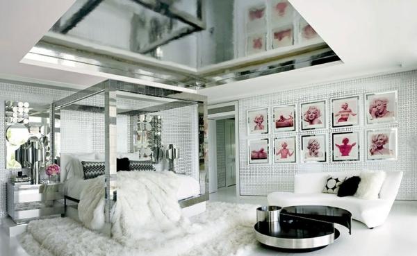 designermode tommy hilfiger luxushaus schlafzimmer einrichten fellteppich silber weiß