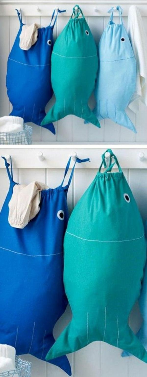 wäschesack aus stoff selber nähen fische waschküche einrichten