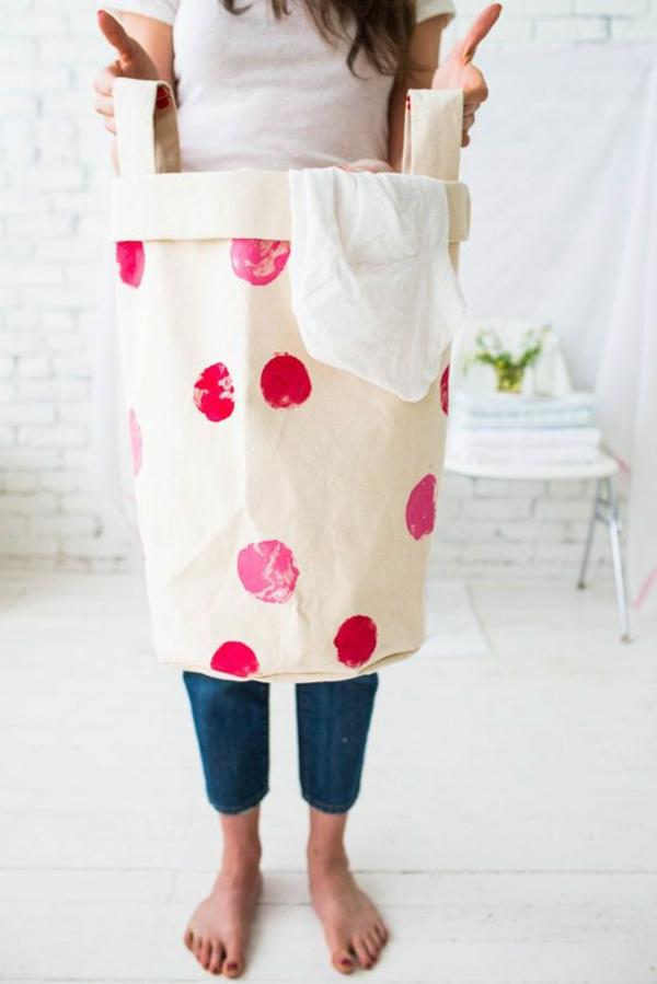 diy projekte wäschesack aus stoff selber nähen waschküche einrichten