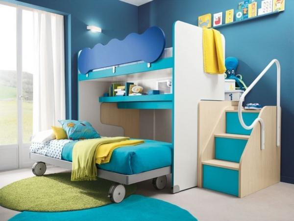 doppelbett design kinderzimmer treppen runde teppiche