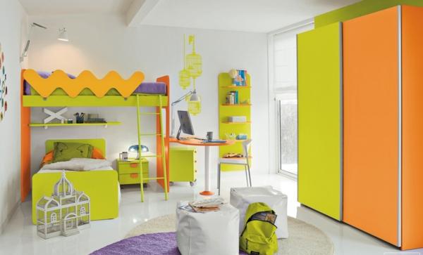 Doppelbetten Kinderzimmer Farbiges Interieur Grün Orange Lila