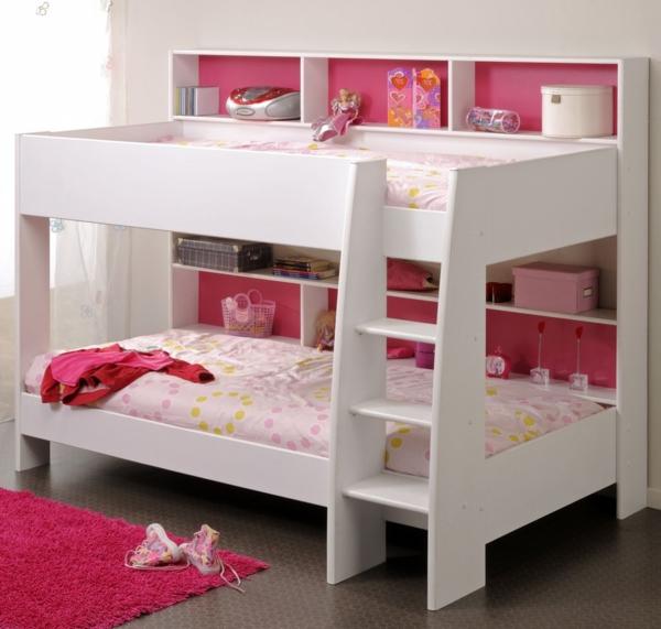 doppelbetten kinderzimmer gestalten mädchen rosa teppich