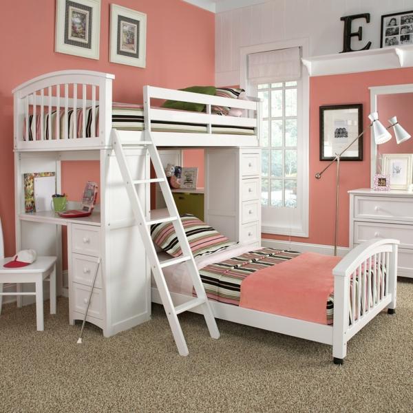 doppelbetten kinderzimmer rosa wandfarbe weiße einrichtung