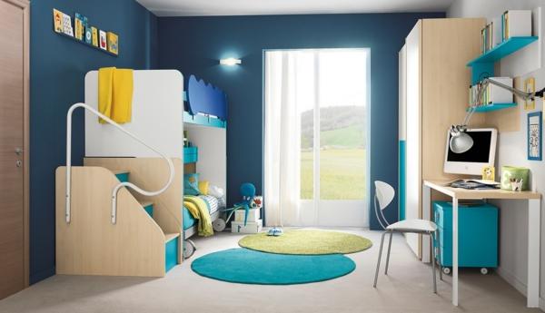 doppelbetten kinderzimmer runde teppiche blaue wandgestaltung