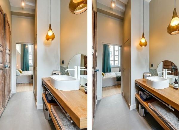 einrichtungstipps massiver waschtisch stauraum runder spiegel