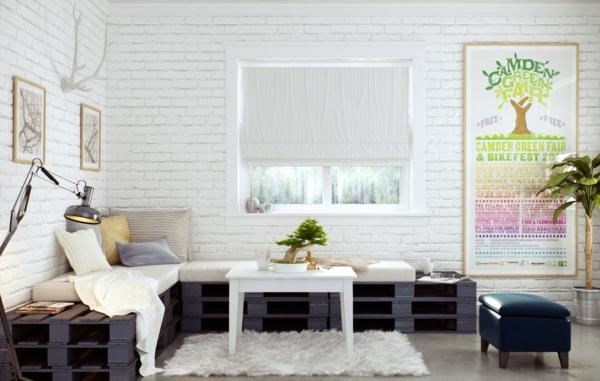 holzpalette diy sofa weiße ziegelwand