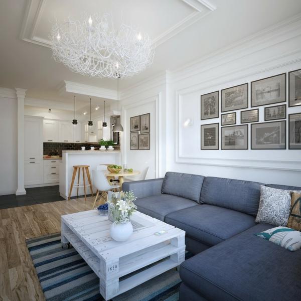 holzpalette diy weißer couchtisch graue couch