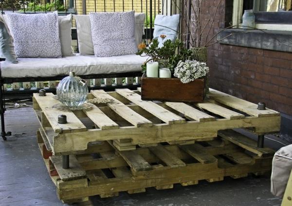 holzpalette terrassenmöbel couchtisch stauraum