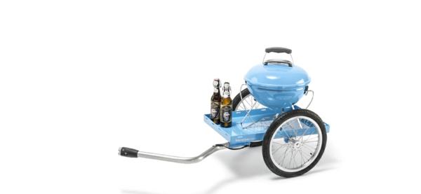 fahrradanhänger fahrrad blau grillständer